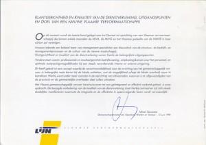"juni 1990: de ""Vlaamse"" executieve kondigt de oprichting van ""De Lijn"" aan - juin 1990: la fondation du ""Lijn"" est annoncée par l'éxécutif ""flamand"""