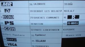 Brussels computerscherm bij de verkiezingen van 25 mei 2014 zonder terugkeermogelijkheid. - Ecran d