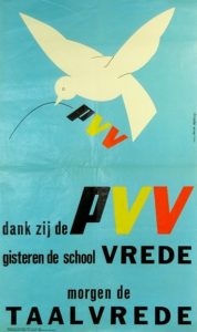 Le PVV-PLP en 1968: un parti unitariste, luttant pour la paix linguistique - de PVV-PLP in 1968: een unitaristische partij die het opnam voor de taalvrede; bron-source: http://www.liberaalarchief.be/afb/1968-PVV.jpg