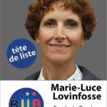"Marie-Luce Lovinfosse, lijsttrekker B.U.B. in ""Vlaams""-Brabant (westelijk district). Marie-Luce Lovinfosse, tête de liste en Brabant ""flamand"" (partie occidentale); Photo – foto B.U.B."