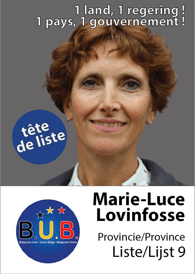 """Marie-Luce Lovinfosse, lijsttrekker B.U.B. in """"Vlaams""""-Brabant (westelijk district). Marie-Luce Lovinfosse, tête de liste en Brabant """"flamand"""" (partie occidentale); Photo – foto B.U.B."""