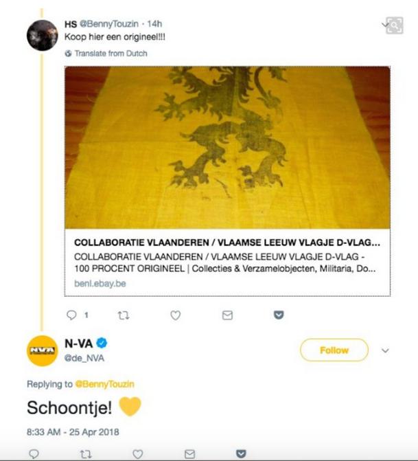 La N-VA recommande le drapeau de collaboration - N-VA prijst collaboratievlag aan (bron-source: twitter)