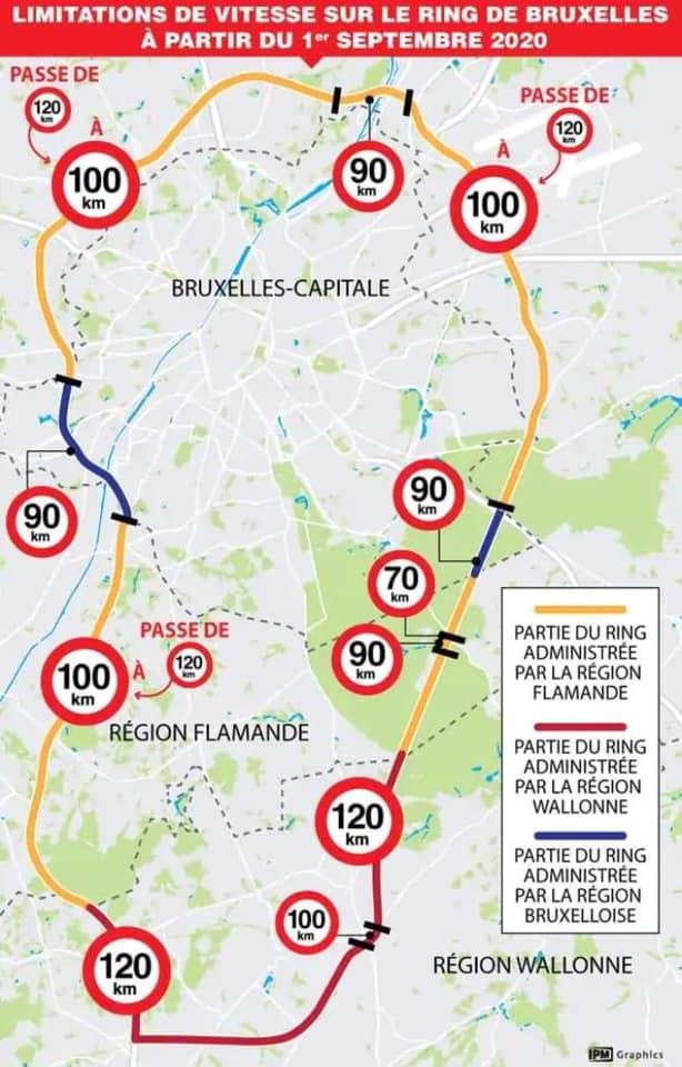 Pourquoi faire simple quand on peut faire compliqué : on change 11 fois de vitesse sur le Ring de Bruxelles ! - Waarom gemakkelijk doen als het ook moeilijk kan: men verandert 11 maal van snelheid op de Brusselse Ring. Bron-source: IPM Graphics: