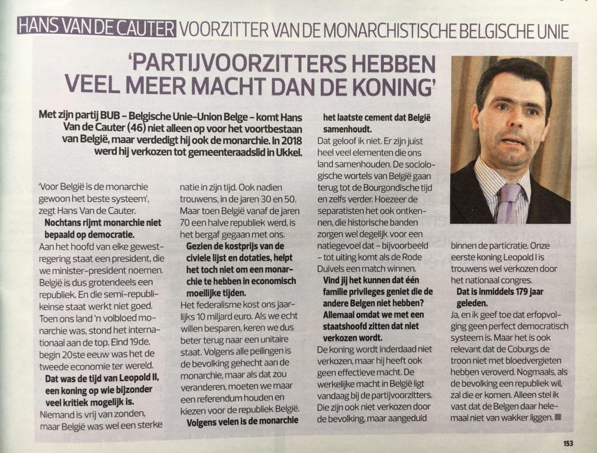 "Artikel B.U.B. in Dag Allemaal - Article B.U.B. dans ""Dag Allemaal"" 16.07.2019"